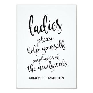 Ladies Bathroom Basket Affordable Sign Card