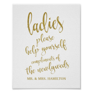 Ladies Bathroom Basket Glitter 8x10 Wedding Sign