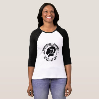 Ladies' Black and White 3/4 Sleeve RAM Tee