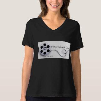 Ladies Black Jersey V-neck T-Shirt