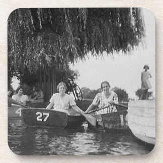 Ladies & Boats Black & White Hard Plastic Coasters