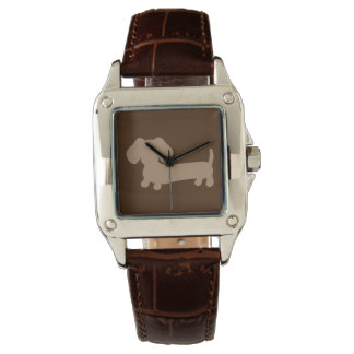 Ladies Chocolate Brown Dachshund Leather Watch