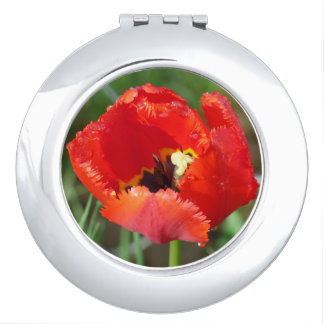 Ladies Compact Mirror with Single Red Flower