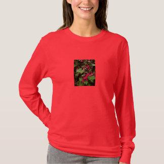 Ladies Dark Red T-Shirt with Hollyhock  Design