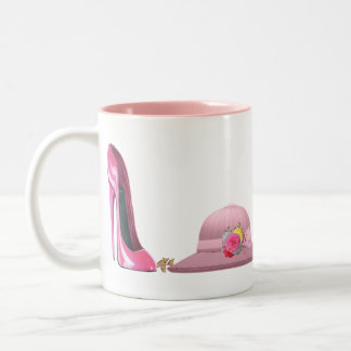 Ladies Day! Pink Stiletto Shoe and Hat Two-Tone Mug