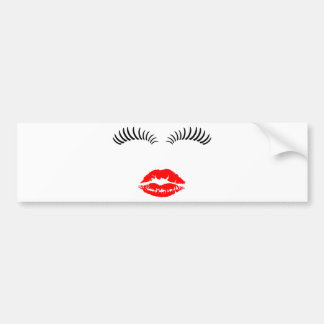 Ladies Eye Lahes and LipStick Kiss Bumper Sticker
