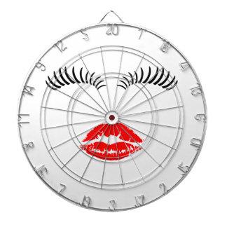 Ladies Eye Lashes and LipStick Kiss Dartboards