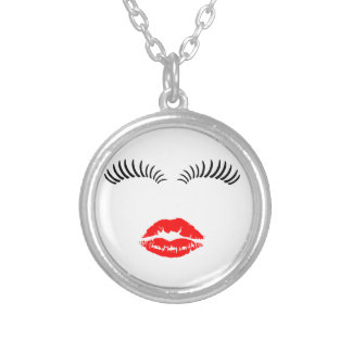 Ladies Eye Lashes and LipStick Kiss Silver Plated Necklace