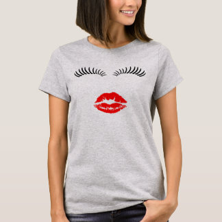 Ladies Eye Lashes and LipStick Kiss T-Shirt