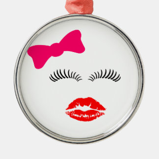 Ladies Eye Lashes, LipStick Kiss and Bow Christmas Ornament