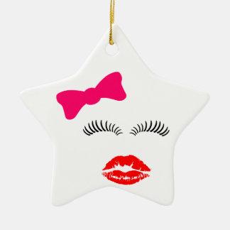 Ladies Eye Lashes, LipStick Kiss and Bow Christmas Ornament