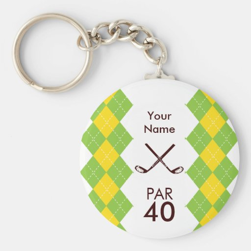 Ladies Golf Party Argyle Preppy Keychains