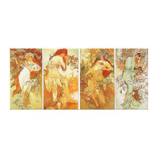 Ladies in Four Season Vintage Painting Canvas Prints