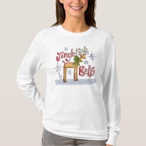 Ladies Jingle Bells Christmas Jumper - Reindeer T-Shirt