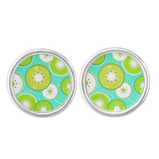 """Ladies """"kiwi"""" earrings : silver green cufflinks"""