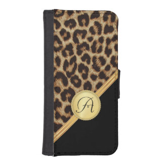 Ladies Leopard Print with Monogram iPhone5 iPhone SE/5/5s Wallet Case