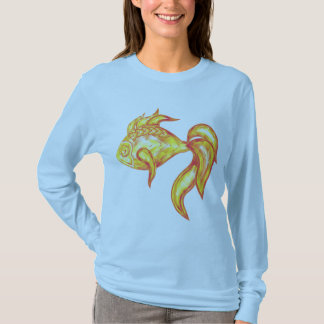 Ladies long sleeve shirt with crystal golden fish