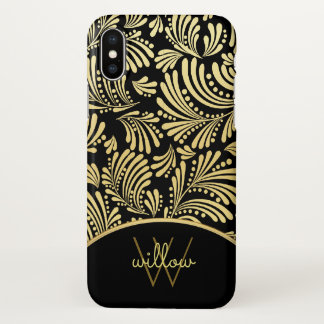 Ladies Monogram Elegant Black Gold Floral Abstract iPhone X Case