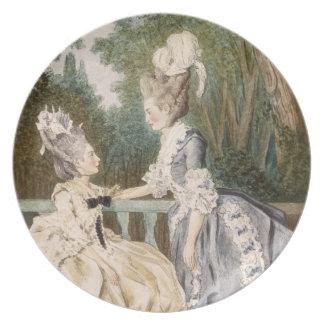 Ladies' Morning Dress, 1771 (colour engraving) Dinner Plate