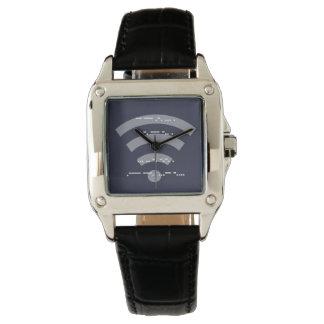 Ladies morse code square black leather watch