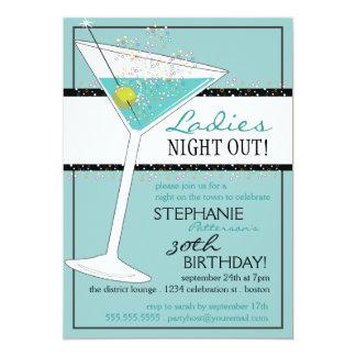 Ladies Night Out Martini Aqua Birthday Celebration 13 Cm X 18 Cm Invitation Card