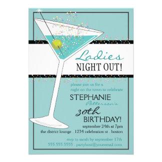 Ladies Night Out Martini Aqua Birthday Celebration Personalized Announcements
