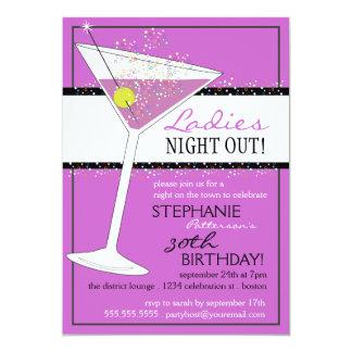 Ladies Night Out Martini Birthday Celebration 13 Cm X 18 Cm Invitation Card
