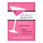 Ladies Night Out Martini Pink Birthday Celebration 5x7 Paper Invitation Card