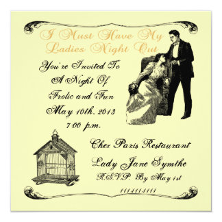 Ladies Night Out  With Bird Cage Invitation