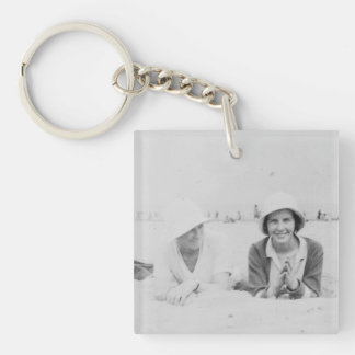 Ladies On Beach Image Acrylic Square Keychain
