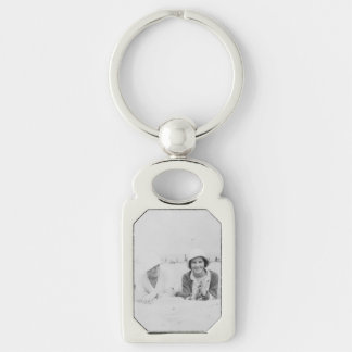 Ladies On Beach Image Metal Rectangle Keychain Silver-Colored Rectangle Key Ring