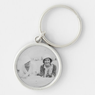 Ladies On Beach Image Premium Small Round Keychain