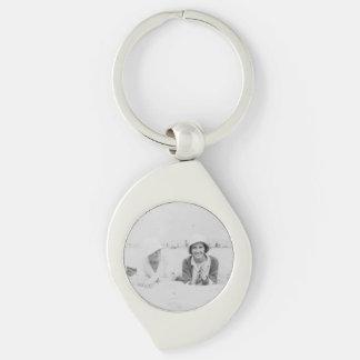 Ladies On Beach Metal Swirl Keychain Silver-Colored Swirl Key Ring