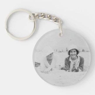 Ladies On Beach Old Image Acrylic Round Keychain
