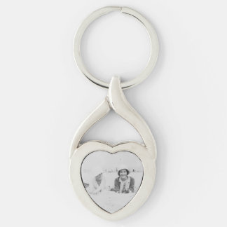 Ladies On Beach Old Image Metal Heart Keychain