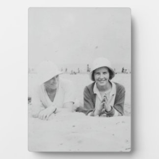 Ladies On Beach Old Image - Photo Plaque & Easel