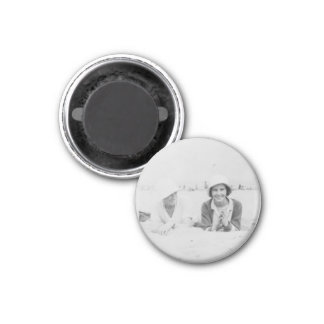Ladies On Beach Old Image Small Round Magnet