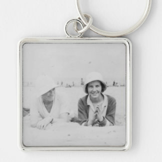 Ladies On Beach Premium Large Square Keychain