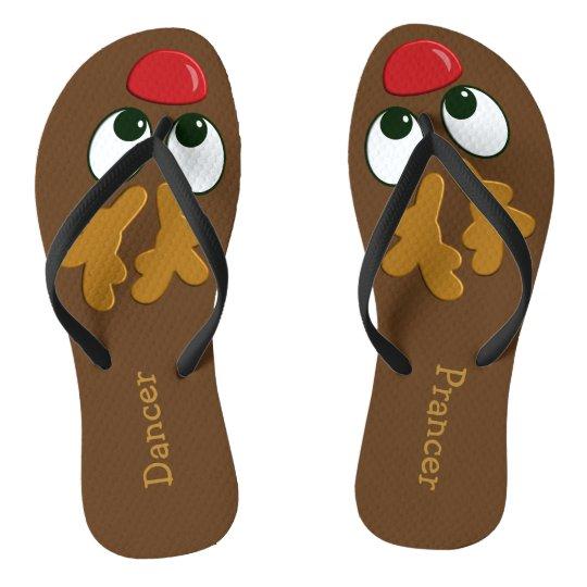 Ladies Personalised Christmas Reindeer Flip Flops