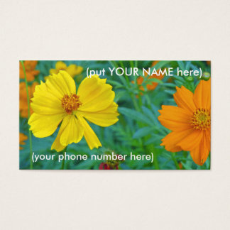 Ladies phone Card over colorful Wildflowers