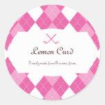 Ladies Pink Golf Argyle Round Stickers