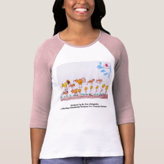 """LADIES PINK & RED BASEBALL T-SHIRT """"Chickens"""""""