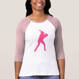 Ladies pink simple baseball player shirt