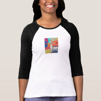Ladie's Raglan Tee with Abstract Art Design