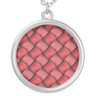 Ladies Red Fashion Round Silver Necklace