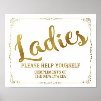Ladies restroom sign - toiletries basket sign