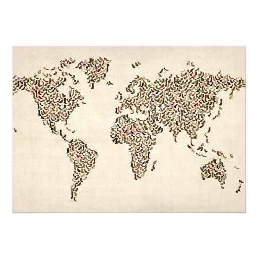 Ladies Shoes Map of the World Map Personalised Invitations