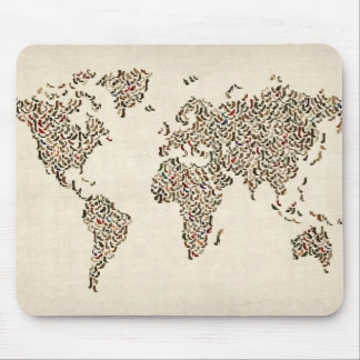 Ladies Shoes Map of the World Map Mouse Mat