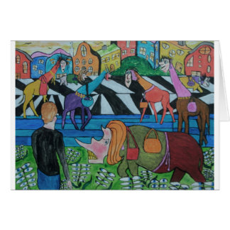 Ladies shopping in the Toon Greeting Card