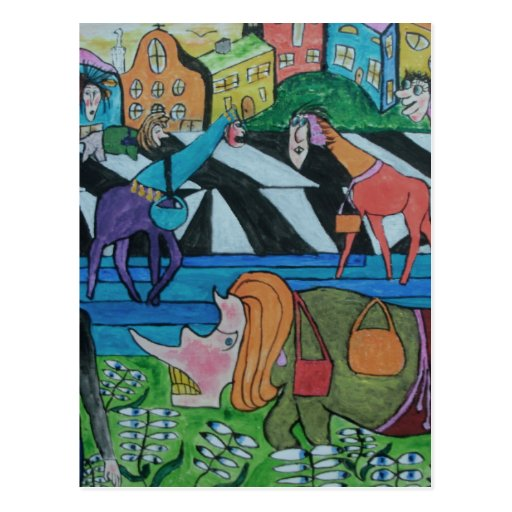 Ladies shopping in the Toon Post Card